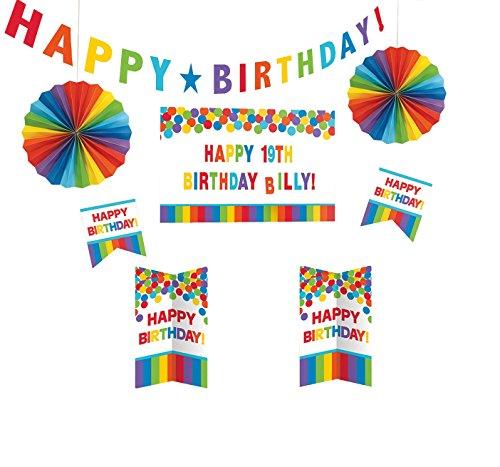 amscan 241144 Deko-Set Birthday-Primary Rainbow Personalize It, Amerikanische Größe