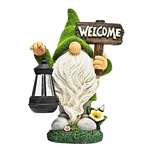 SHENXINCI Lustig Gartenzwerg Wetterfest Figur,mit Laterne LED Solarleuchte Zwerg Gartenfiguren Aus Kunstharz Gartenwichtel Gartendeko Figuren Gartenleuchte Für Außen Hof Balkon