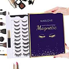 【MAGNETIC EYELASHES WITH EYELINER】Fully new designed,MAELOVE magnetic eyeliner and lashes kit comes with 2 tubes special magnetic eyeliners and 10 pairs magnetic eyelashes,our magnetic eyeliner has ultra-fine magnetic particles in its formula that al...