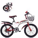 Bicicleta Plegable Para Niños De 18/20/22 Pulgadas Y 7 Velocidades, MTB De Velocidad Variable Para Niños Y Adolescentes Con Asiento Trasero Y Canasta Para Bicicletas, Regalo Para Niños,02,18'
