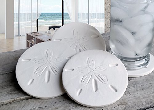 Drink Coasters - Sand Dollar - Absorbent - set Handmade by McCarter Coasters for Beach House - Tabletop Protection - House Warming - Hot or Cold Beverages 4.38' Off-White (4pc)