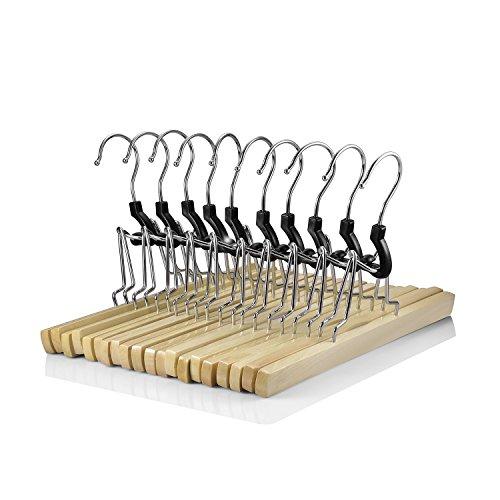 logei® 10 grucce in legno per pantaloni con inserto in feltro, lunghezza 25 cm