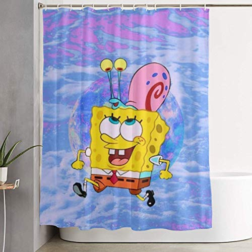 993 CCOVN Duschvorhang Spongebob with Snails Shower Curtain Decor for Men Women Boys Girls 60x72 in