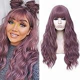 Peluca larga ondulada con flequillo de aire Pelucas sintéticas resistentes al calor para mujeres Peluca de reemplazo de cabello de 28 pulgadas de aspecto natural (28''Púrpura)