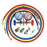 5FT 3-Way AC Diagnostic Manifold Gauge Set for Freon Charging, Fits R134A R12 R22 and R502 Refrigerants, with Acme Adapter and Can Tap for Automotive Car Air Conditioning
