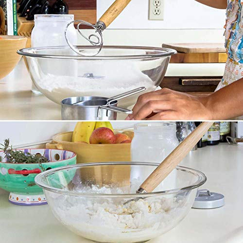 Qooner Dough Whisk,Bread Knife Eggs Beater Mixer Tool 13 Inch Wood Handle Stainless Steel Blender for DIY Bread Dough Bakeware Kitchen