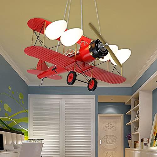 GGMWDSN Lampara Ventilador Techo Infantil, Ventilador de Dormitorio Moderno con Forma de AvióN Ventilador de Techo PequeñO Regulable Luz de Ventilador Regulable para Sala de Estar, Dormitorio,Red