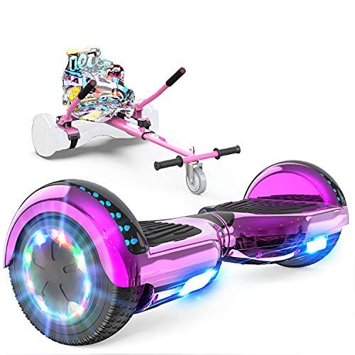 GeekMe Patinete Eléctrico Auto Equilibrio con Hoverkart, Hover Scooter Board, Balance Board + Go-Kart 6.5 Pulgadas con Bluetooth, Luces LED, Regalo para Niños, Adolescentes y Adultos (Rose+Pink Kart)