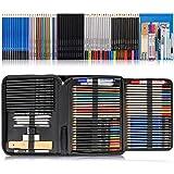 K Kwokker 75 x Sketching Pencils for Artists, Teens, Kids, Charcoal Pencils for Drawing, Colored Pencils for Adult Coloring, Watercolor Pencils, Metallic Pencils, Sharpener, Markers(Red, Black, Blue)