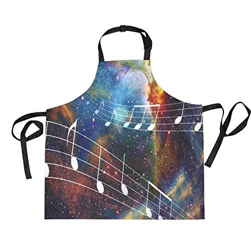 Mnsruu Music Notes Space Universe Star Delantal de cocina con babero de 70 x 73,9 cm con 2 bolsillos frontales para mujeres y hombres