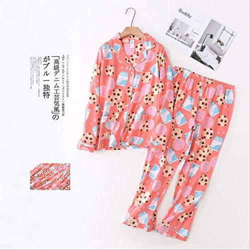 XFLOWR Conjunto de Pijamas de algodón Completo para Damas para la Primavera y el otoño Cuello Vuelto Cárdigan + pantalón Conjunto de Ropa de Mujer cómoda y Suelta S Leche y Galletas