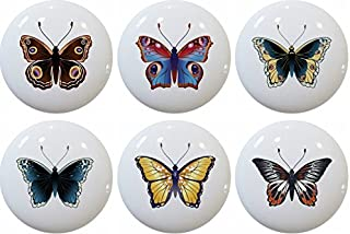 Set of 6 Butterfly Ceramic Cabinet Drawer Pulls Knobs