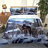 SNJIVU Duvet Covers King Size 3D Print Snow Animal Wolf Bedspreads, 3 Pieces Zipper Closure Bedding Set Comforter Cover, Ultra Soft Breathable Microfiber Duvet Cover (104 X 90 Inches)