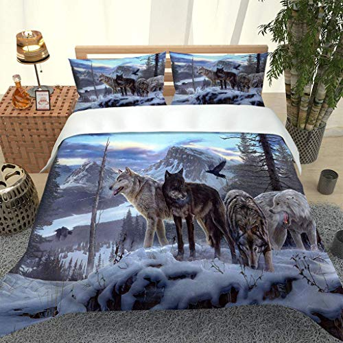 MQBHJI Single Duvet Cover Set 3 Pcs With Zipper Closure 135X200cm - Ultra Soft Easy Care Microfiber Quilt Cover Set - Kids Single Bedding Sets With Pillowcase - 3D Snow Animal Wolf