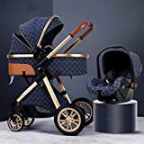 TXTC 3 in 1 Stroller Carriage with Oversized Canopy/Easy One-Hand Fold,Foldable Luxury Baby Stroller Anti-Shock Springs High View Pram Baby Stroller with Baby Basket (Color : Blue)