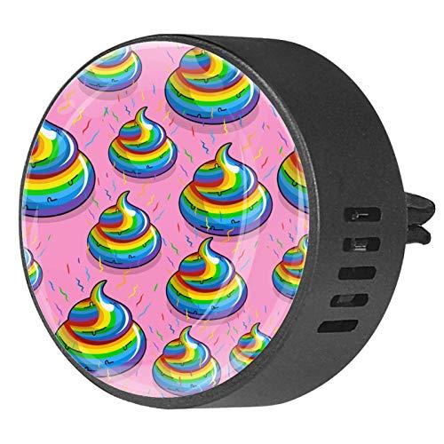 BestIdeas 2 clips de ventilación ambientador de coche con divertido arco iris colorido Poop, aromaterapia difusor de aceite esencial