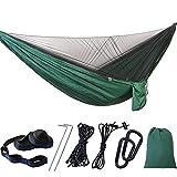 HLSUSAN Hamaca Ultraligera para Viaje y Camping con Mosquitero Pop Up Portátil Nylon de Paracaídas para 2 Personas 200kg de Capacidad de Carga 290×140cm Verde
