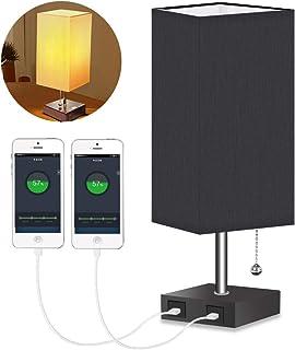 HENZIN Lampe de chevet LED vintage avec abat-jour en tissu, lampe de table en tissu, lampe de bureau, lampe de chevet avec...