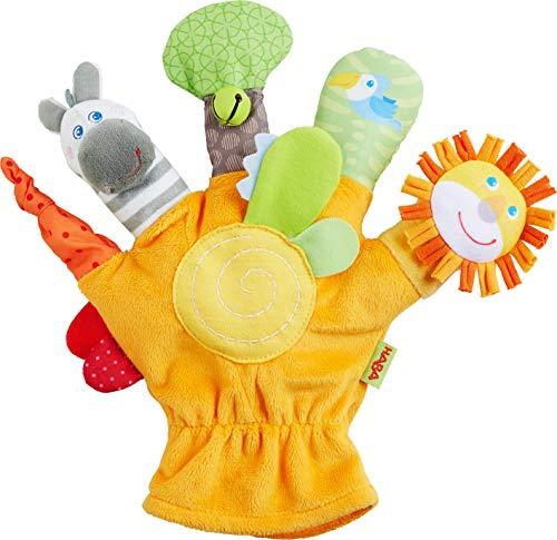 HABA 304932 - Spielhandschuh Wildtiere, weiche Fingerpuppen mit Tiermotiven und  akustischen Effekten, Baby-Spielzeug ab 18 Monaten