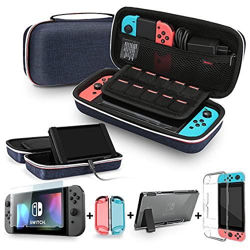 Bestico Zubehör für Nintendo Switch, Tragetasche mit Ständer, Transparent Schutzhülle, Displayschutzfolie für Nintendo Switch (Classic Blue)