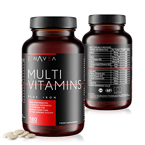 Zenavea - 180 Multivitamins Biotin and Minerals Food Supplements with Iron Suitable for Vegetarians - Made in UK - Tablets with Vitamins to Boost Your Energy - 6 Month Vitamin Supply for Men and Women