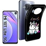 """HYMY Cover per Xiaomi Mi 10T Lite 5G Custodia (6.67"""") Morbida Black Silicone Bumper Case TPU Protettivo Copertura Custodia, Couple Unicorn"""