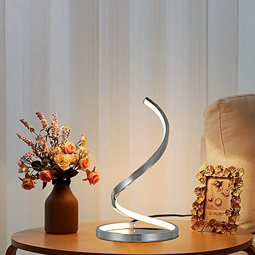 Karmiqi LED Bedside Table Lamp Modern Dimmable Touch Control Night Light, Silver Spiral Chrome Desk Lamp, 12W 3 Levels Dimming for Bedroom Living Room Office