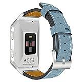 AISPORTS - Correa de repuesto para Fitbit iónico para mujer y hombre, correa de piel con hebilla clásica de metal para reloj inteligente Fitbit Ionic, color azul