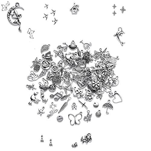 Breloques Pendentif Antique,100 Pièces,Breloques pour Bijoux, Pendentifs Artisanaux Fabrication Accessoires pour la fabrication bricolage, bracelet, boucle d'oreille,collier, décoration artisanale