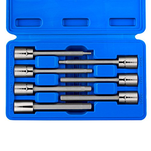 "Neiko 10072A 3/8"" Drive Extra Long Allen Hex Bit Socket Set, SAE, 1/8"" - 3/8"" 