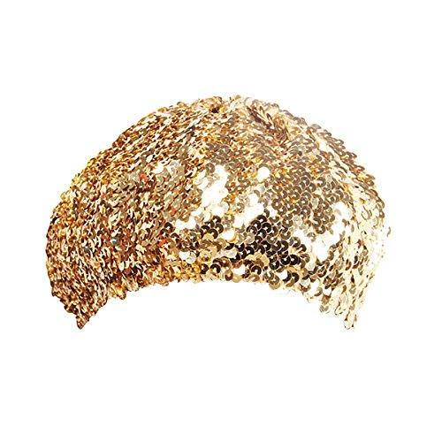 keland Sparkle Sequine Einstellbare Mütze Baskenmütze Hut Tanzen Tam Cap Silber (Gold)
