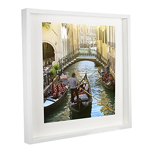 BD ART 50 x 50 cm 3D Box Bilderrahmen Weiß mit Passepartout 40 x 40 cm, Plexiglas, Tief 3 cm