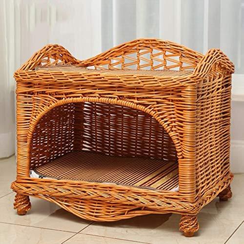 ZUOZUOZUO High-End Kattennest Villa Zomer Rotan Dubbele Kat Huis Kennel Kleine En Medium Hond Huisdier Nest Verwijderbaar En Wasbaar, 58x40x45cm, Honey color + 2 mat 2 mat