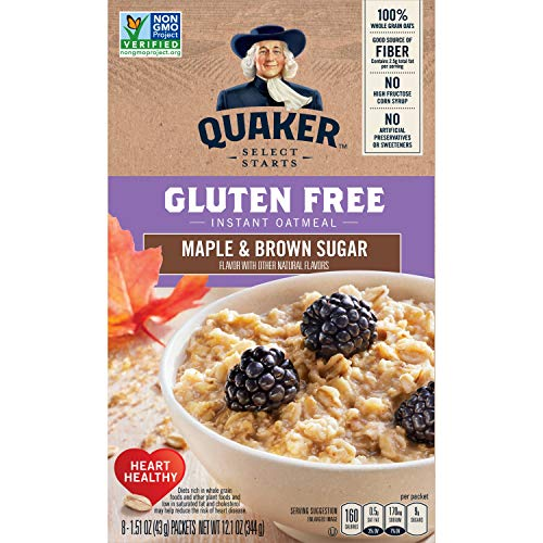 Quaker Instant Oatmeal, Gluten Free, Maple & Brown Sugar, Breakfast Cereal, 12.1 Oz