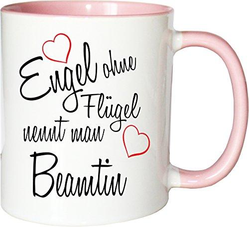 Mister Merchandise Becher Tasse Engel ohne Flügel nennt Man Beamtin Kaffee Kaffeetasse liebevoll Bedruckt Beruf Job Geschenk Weiß-Rosa