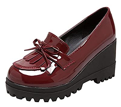Wedge Oxfords Shoes for Women, Girls Tassels Lolita Cosplay Japanese School Uniform Dress Shoes Heel Platform Loafers