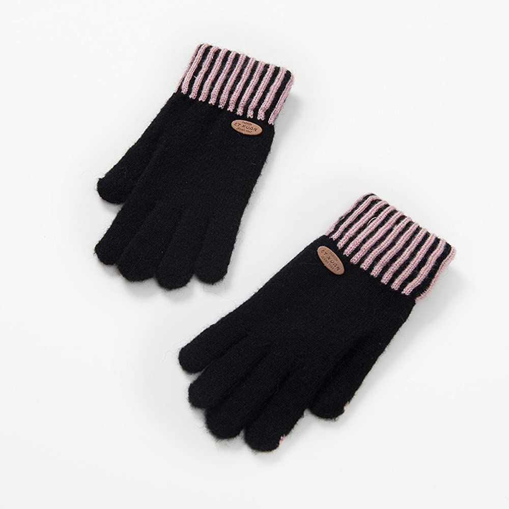 BASH Ladies Gloves Woolen Gloves Female Winter Student Cute Korean Version of Solid Color Girls Five-Finger Touch Screen Gloves Winter Female Cute