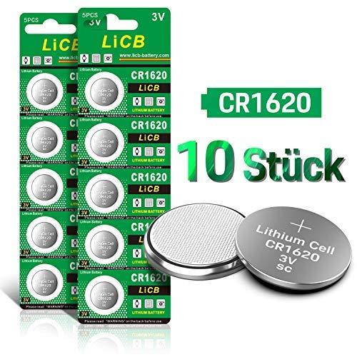 LiCB 10 Stück CR1620 3V Lithium Knopfzellen CR 1620 Batterien