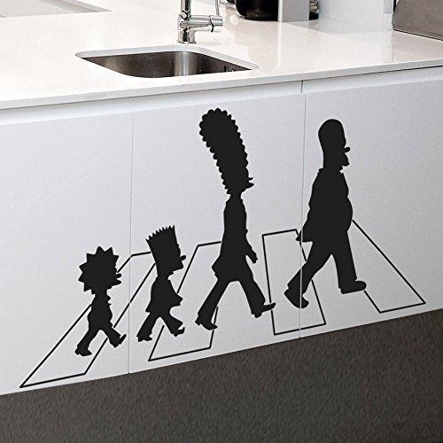 IDEAVINILO Vinilo Decorativo Los Simpson en Abbey Road. Color Negro. Medidas: 110x55cm.