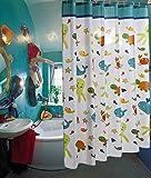Cortina de baño con divertido diseño de animales del mar, impermeable, con ganchos. Ideal para niños, 180X180CM