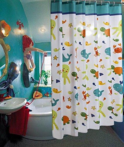 MDD Tech Interessant Meerestiere Entwurf Wasserdicht Badezimmer Duschvorhang mit Haken zum Kinder 180x180cm