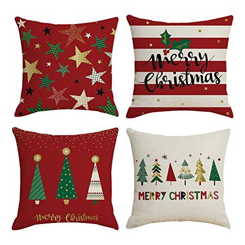 Vanansa Zestaw 4 dekoracyjnych poszewek na poduszkę, na Boże Narodzenie, na zimę, miękkie poszewki na poduszki, bawełna, len, poduszka dekoracyjna, poduszka do spania, poduszka dekoracyjna, czerwona (45 × 45 cm)