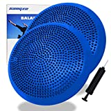 Sangke Inflated Stability Wobble Cushion/Exercise Fitness Core Balance Disc for Home or Office Desk Chair & Kids Alternative Classroom Sensory Wiggle Seat- Pump Included (Blue-2Pack)