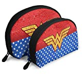 Wonder Woman Mother's Day Super Hero Portable Travel Makeup Bag for Toiletry Jewelry 2 PCS Cosmetic Bag Gift for Women Girls