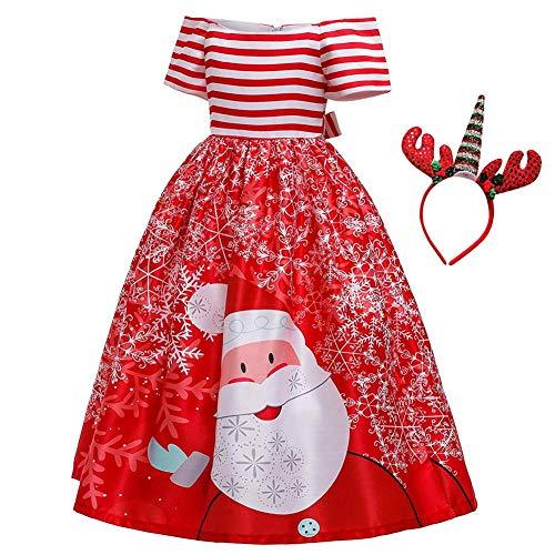 IBTOM CASTLE - Disfraz de Pap Noel para nia, Vestido de Princesa con Unicornio, Vestido de Tul para nios, Disfraz de Carnaval, con Cinta para la Cabeza Rojo 3 40