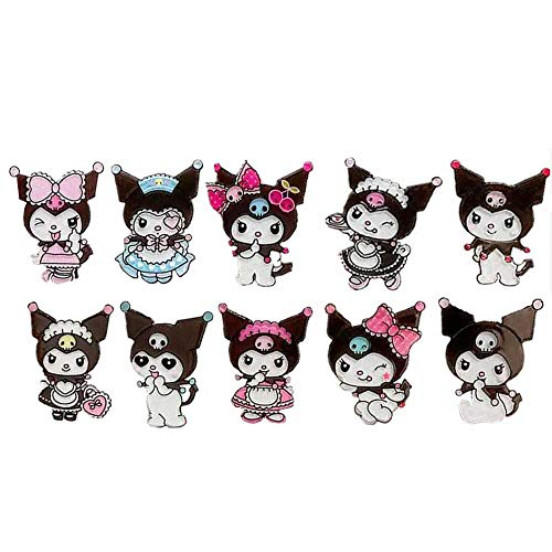 XILUO Kuromi Hairpin 10 PCS,My Melody Hair Clip Anime Cosplay Cute Cartoon Accessories for Girls (A)