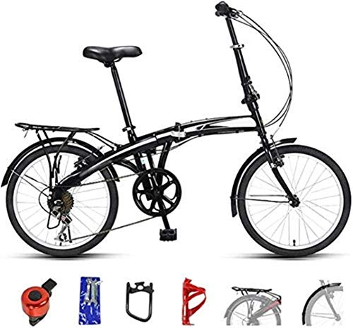 YLJYJ 20 Inch Mountain Bike Folding Bicycle 7-Speed Double Disc Brake Full Suspension Bicycle Off-Road Variable Speed Bikes for Men and Women(Exercise Bikes)