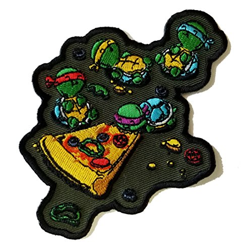 'Pizza Lover' TV Movie Parody Turtles Eating Pizza - Novelty Iron On Patch Applique