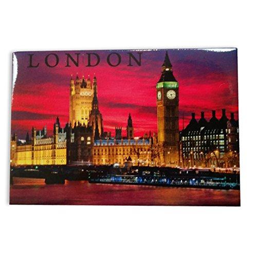 Calamita Frigorifero Londra di Notte - Magnete / Big Ben / Parlamento / Ponte / Tamigi / Ricordo Britannico da Inghilterra Regno Unito
