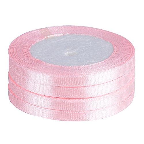 AONER 91m Geschenkband Satinband Seidenbänder Seidenband Schleifenband Rosa Hochzeit Dekoband Satin Geschenkband 6 mm breit